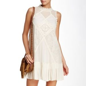 NEW Free People Angel Lace Mixed-Media Mock Dress
